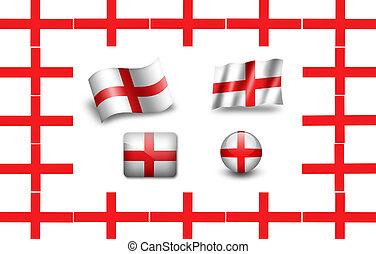 england., 旗, セット, アイコン