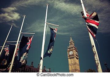 england, 旗, 在風, 前面, 大本鐘, 倫敦, 英國