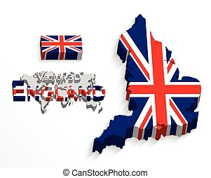 England 3D ( flag and map ) ( United Kingdom of Great Britain ) ( combine flag and map )