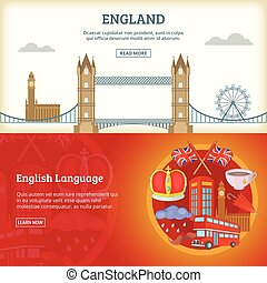 England banner or poster set vector illustration