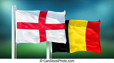 England - Belgium, 3rd place match of soccer World Cup, Russia 2018 National Flags.