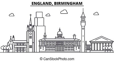 England, Birmingham architecture line skyline illustration. Linear vector cityscape with famous landmarks, city sights, design icons. Editable strokes