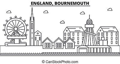 England, Bournemouth architecture line skyline illustration. Linear vector cityscape with famous landmarks, city sights, design icons. Landscape wtih editable strokes