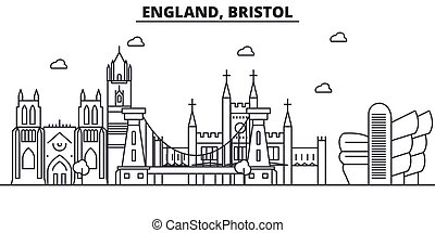England, Bristol architecture line skyline illustration. Linear vector cityscape with famous landmarks, city sights, design icons. Landscape wtih editable strokes