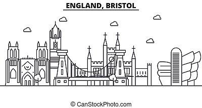 England, Bristol architecture line skyline illustration....