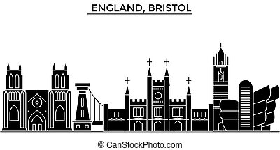 England, Bristol architecture vector city skyline, travel...
