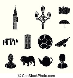 England country black icons in set collection for...
