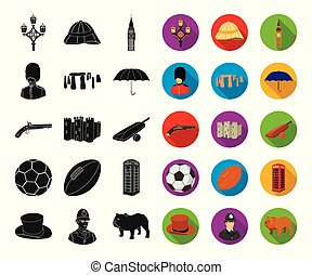 England country black,flat icons in set collection for...