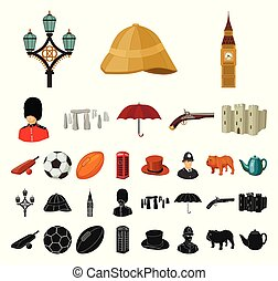 England country cartoon, black icons in set collection for...