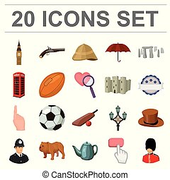 England country cartoon icons in set collection for...