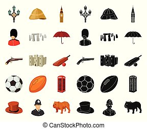 England country cartoon,black icons in set collection for...