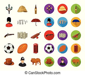 England country cartoon,flat icons in set collection for...