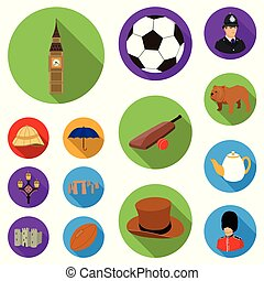 England country flat icons in set collection for...