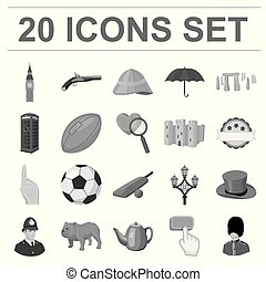 England country monochrome icons in set collection for...