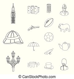 England country outline icons in set collection for...