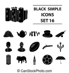 England country set icons in black style. Big collection of...