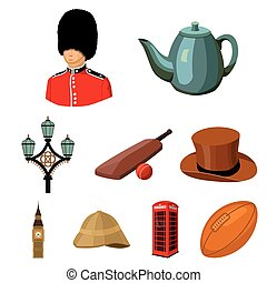 England country set icons in cartoon style. Big collection...