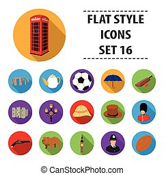 England country set icons in flat style. Big collection of...