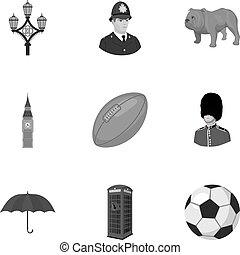 England country set icons in monochrome style. Big...