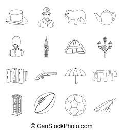 England country set icons in outline style. Big collection...