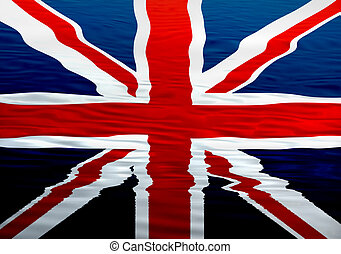 england flag ilustration in the water, computer generated