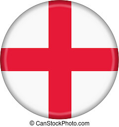 England Flag Button isolated on a white background with clipping path