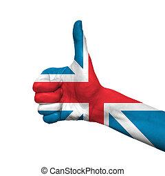 england flag - England flag painted on hand over white...