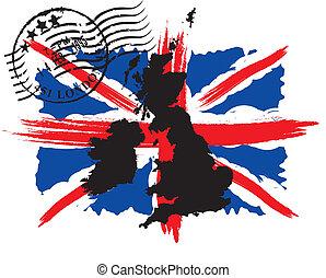 england flag - English flag with the postmark and map