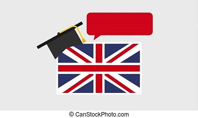 learn english online - england flag graduation hat and...