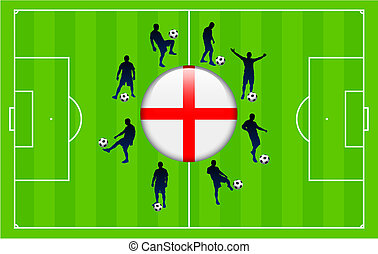England Flag Icon Internet Button with Soccer Match