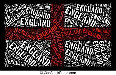 England flag illustration from word cloud arrangement