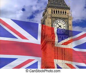 England flag on a background bigben. PAL