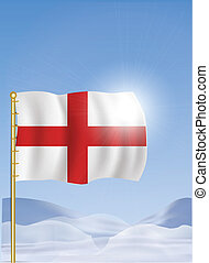 England Flag on Top of the Mountain