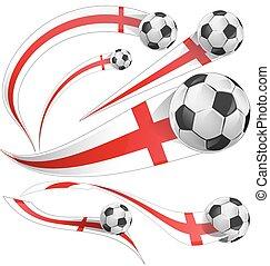 england flag set with soccer ball