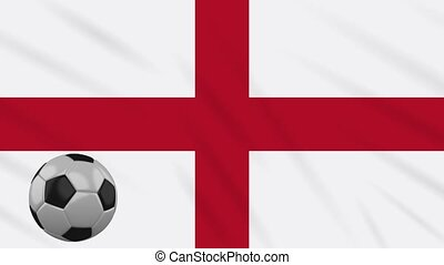 England flag waving and football rotates, loop