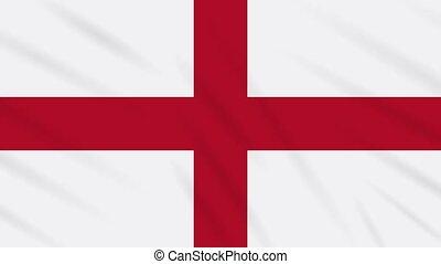 England flag waving cloth background, loop