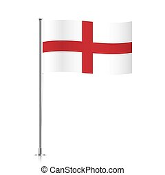 England flag waving on a metallic pole.