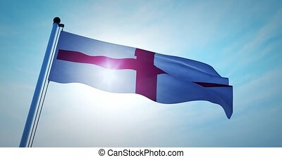 England flag waving represents the United Kingdom and ...