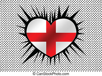 England Flag with heart