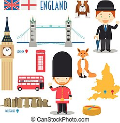 England Flat Icon Set Travel and tourism concept. Vector...