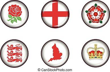 England Glossy Icon Set.