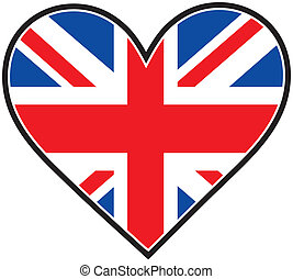 England Heart Flag - The British flag in the shape of a ...