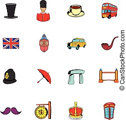 England icons set cartoon