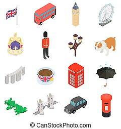 England icons set, isometric 3d style