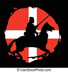 England Knight Warrior Silhouette on black background.