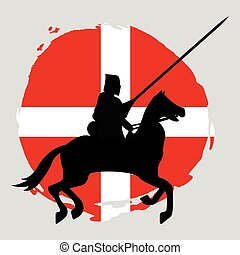 England Knight Warrior Silhouette on white background.
