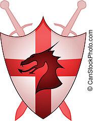 england, kors, sheild