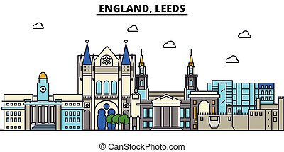 England, Leeds. City skyline architecture, buildings, streets, silhouette, landscape, panorama, landmarks. Editable strokes. Flat design line vector illustration concept. Isolated icons set