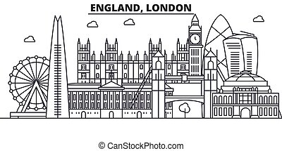 England, London architecture line skyline illustration. Linear vector cityscape with famous landmarks, city sights, design icons. Landscape wtih editable strokes