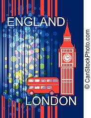 England. London - Postcard on the English theme. Big Ben and...